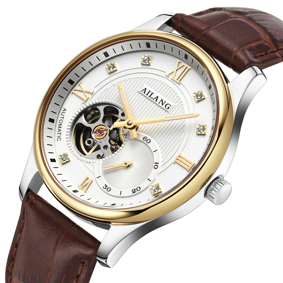ФОТО AILANG Top luxury brand Watches Men Waterproof Mechanical Leather Watch Mens Fashion Casual business WristWatches relojes hombre