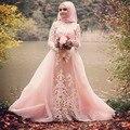Muçulmano Vestido de Noite 2017 vestidos de festa A linha Rosa Tulle Apliques Mulheres Formal Vestidos de Mangas Compridas Vestidos de Noite Hijab