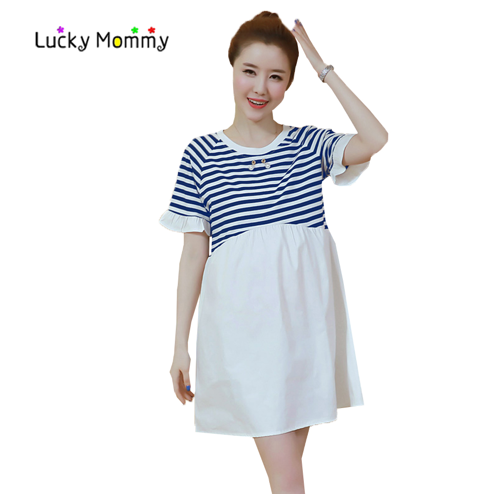 Short Sleeve Stripes Maternity Clothes Stitching Pregnancy Dress 2017 Summer Maternity Clothing for Pregnant Women Cotton Dress