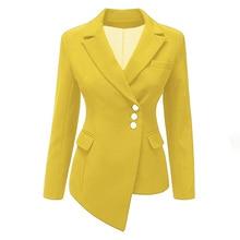 Women Coat Plus Size 3XL 2018 Slim Office Lady Long Sleeve Lapel Single-Breasted Asymmetric Plain Girls Fashion Blazer lapel edging single breasted long sleeve men s corduroy blazer