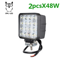 Square Design Flood Beam2 PCS IP67 Waterproof Spot Beam Offroad Truck 4x4 Led Driving Light 48w