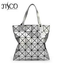 15 colors Japan Style Women Geometry Bao Tote Handbag Laser Diamond Lattice Shopper Folding Bag Hologarphic Cube Shoulder Bags