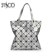 15 colors Japan Style Women Geometry Bao Tote Handbag Laser Diamond Lattice Shopper Folding Bag Hologarphic Cube Shoulder Bags