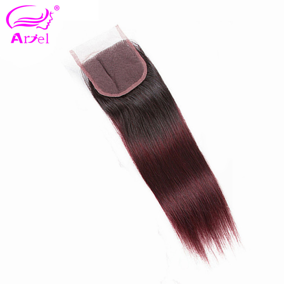 ARIEL Lace Closure Remy-Hair Indian 1b-Burgundy Ombre 100%Human-Hair Three/middle/free-part