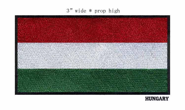 """Hungary 3"""" wide embroidery <font><b>flag</b></font> <font><b>patch</b></font> for sewing supplies/red <font><b>white</b></font> green <font><b>with</b></font> black outline/sewing supplies"""