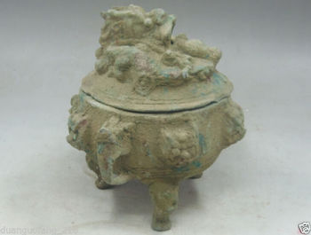 Collection rare CHINESE OLD exquisite 9 dragons bronze Incense burner
