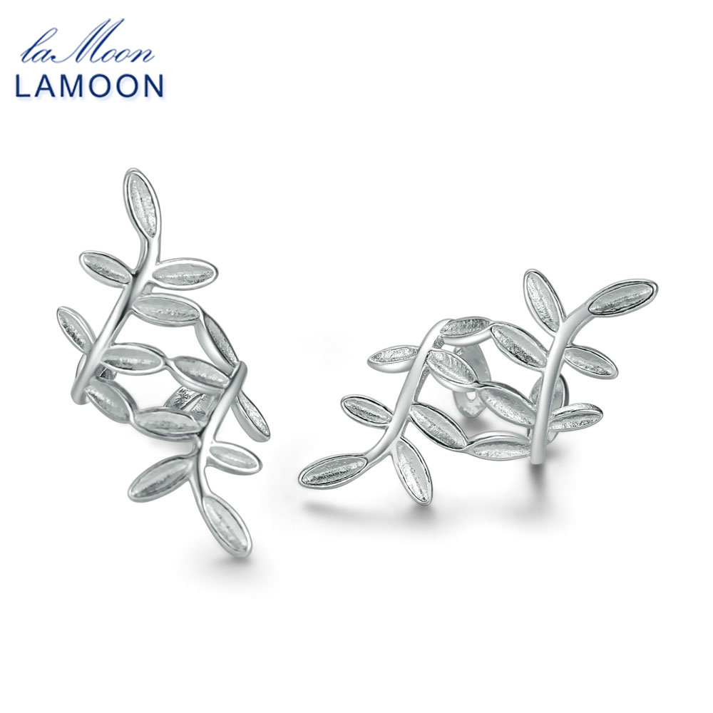 LAMOON S925 100% Real Sterling Sliver Fine Jewelry Clip Earrings for Women New Arrival Olive Branch Leaf Design Brincos E-Y267