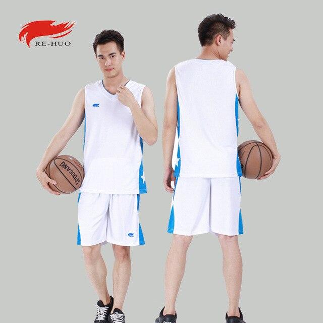 Professional Basketball Jerseys Set Quality Sleeveless Men Sports Jersey Basketball Training Uniforms Suit 5 Color Print Logo