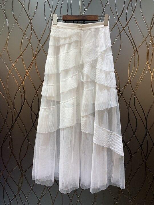 Decorativo E Irregolare Increspato Skirt0227 Europa Pieghettato Delle Stati Bianco Primavera Lunga Uniti 2019 Donne Maglia Gli Estate Nuove Mosaico qFw6Tft
