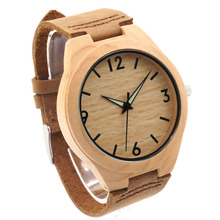 Bobobird Men Minimalist Natural Bamboo Japanese Quartz Wooden Dial Genuine Leather Band Wrist Watch Brown