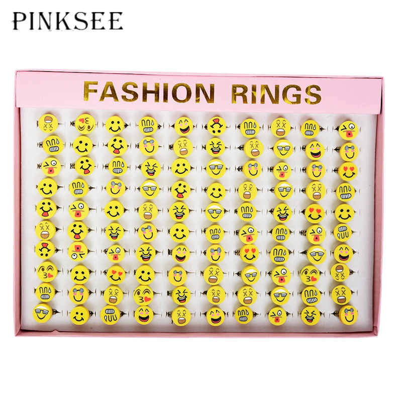 PINKSEE 10 PCS/Lot Expression Smile Face Rings For Children Cute Alloy Clay Random Styles Round Kids Ring Girls Jewelry