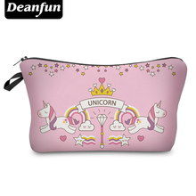 Deanfun 3D Printed Unicorn Cosmetic Bags with Zipper Pink Cute Necessaries for Women Travel Organizer Makeup 50898