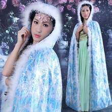 Thick Chinese Ancient Queen Concubines Cloak Lady Cosplay Clothing Print Floral Fairy Robe Flim And Stage Perfoamance Costume(China)