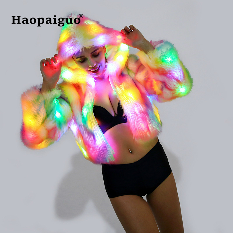 Merry Christmas 2018 Faux Fur Coat Women Multicolor Clothes Hooded Women LED Luminous Faux Fur Coat Lady Bar Dance Cosplay Coat