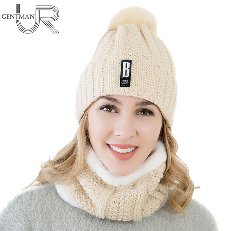 New 2Pcs Warm Set Women Winter Hat Fur Lined   Beanies   Cap+Neck Warmer/B Letter   Skullies     Beanie   Hat Female Pompom Knitted Hat