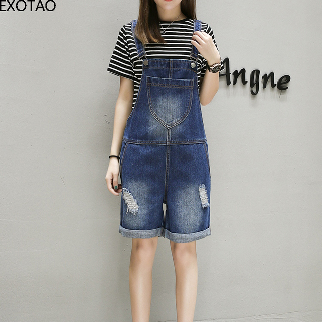 f3b2cf6d3e4 EXOTAO Oversized Denim Female Jumpsuit Hole Plus Size Spring Fashion Shorts  Romper Jeans Summer Ripped Washed Playsuit For Women