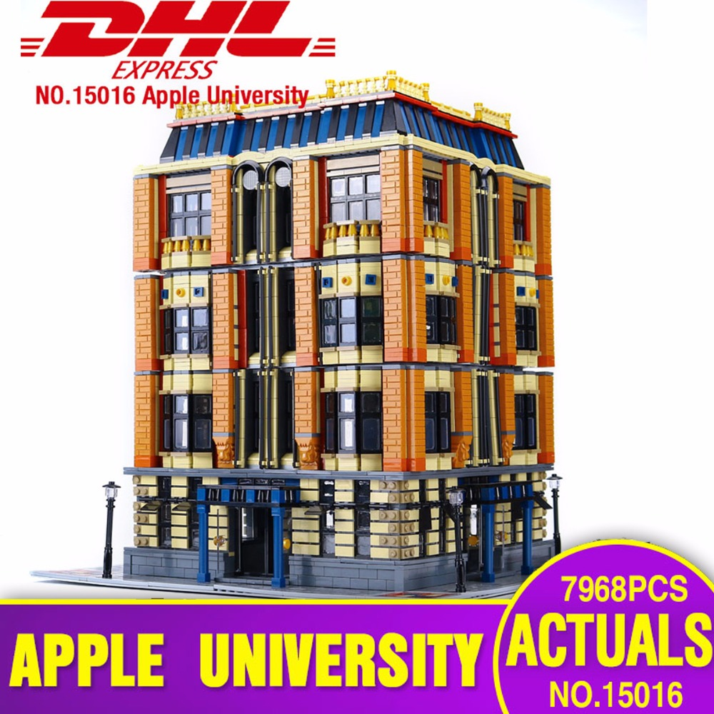 DHL Free shipping Lepin 15016 Steet MOC Creative Series The Apple University Set Building Blocks Bricks legoing Toys as Gift new 7968pcs lepin 15016 moc creative series the apple university set building blocks bricks educational children gifts toys