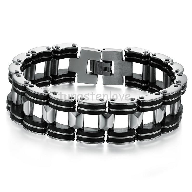Hot sell Silver Stainless Steel Bracelets Black Rubber Motorcycle Biker Bracelet Mens Chain Link pulseira homens