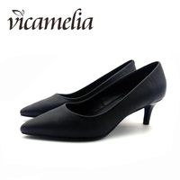 Vicamelia Genuine Leather Dress Shoes Classical High Quality Office Ladies Black Middle Height Pumps Mature Career Footwear 010