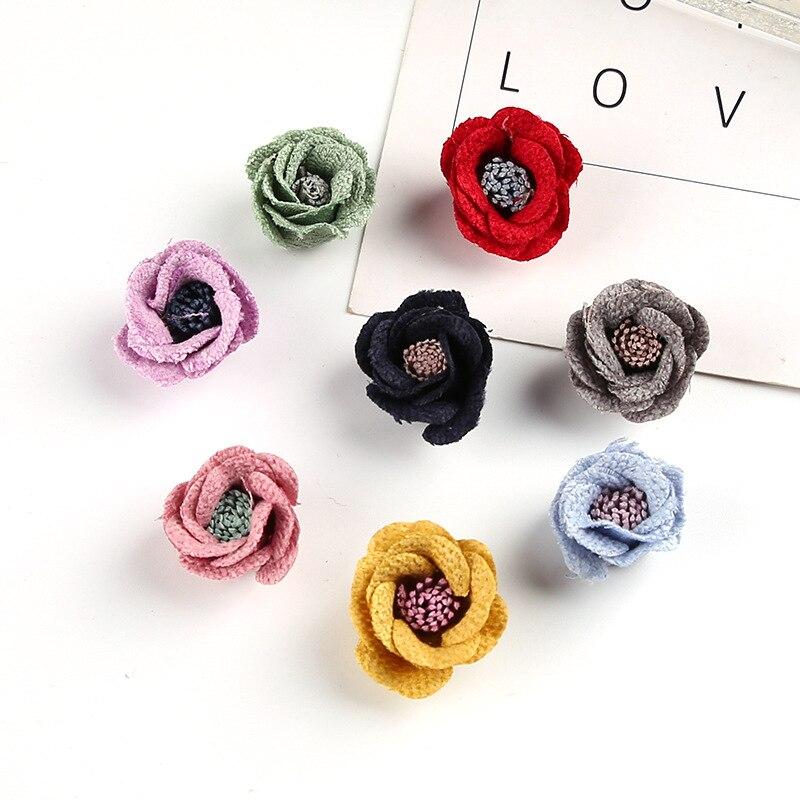 30pcs/lot Satin felt Fabric Flowers with stamen For Girl Headband Hair accessories