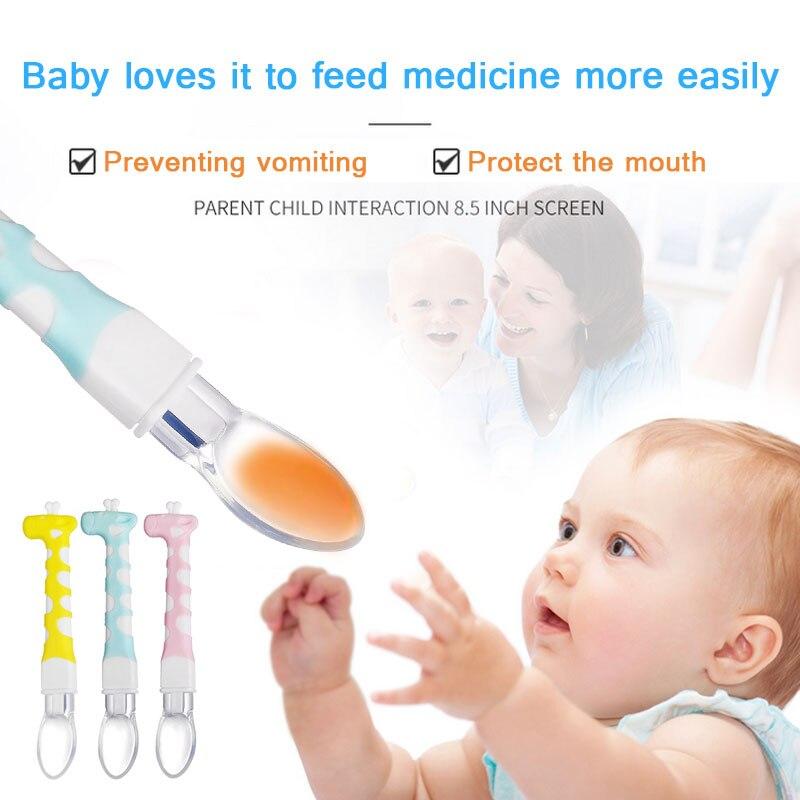 Детская Ложка для кормления, тренировочный жираф, полипропиленовый инструмент для кормления, безопасный для сока