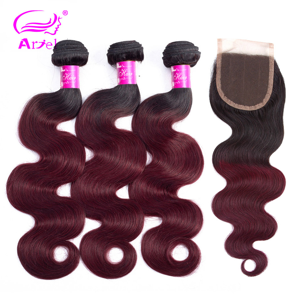 ARIEL Ombre 1B 99J Burgundy 3 Bundles With Closure Burgundy Remy Hair Wine Red Two Tone