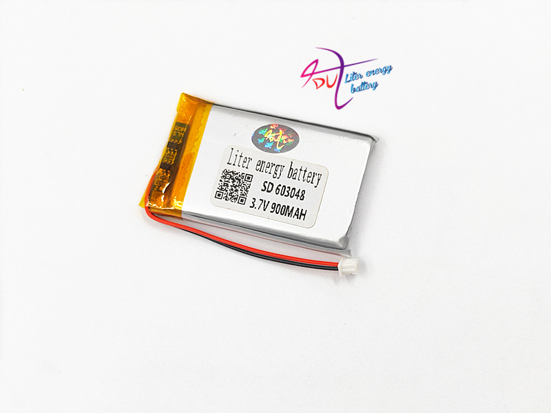 JST 1.25mm 2pin <font><b>3.7V</b></font> 900mAh Lithium Polymer LiPo Rechargeable <font><b>Battery</b></font> with connector <font><b>603048</b></font> For Mp3 MP4 GPS bluetooth camera image