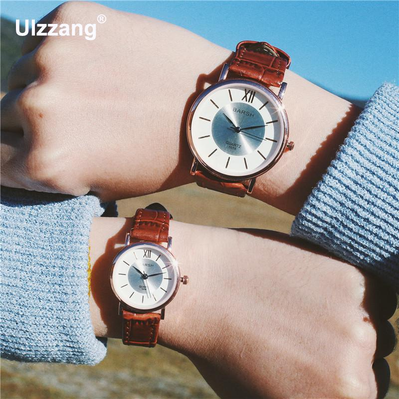 Luxury Fashion Retro Vintage Lover's Quartz Wristwatches Ulta Thin Plated Rose Gold Brown Casual Leisure Women Men Watch Clock