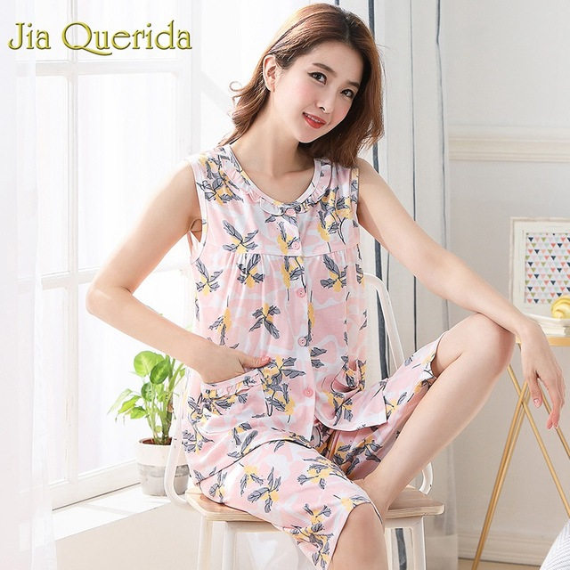 Homewear Pajamas for Women Summer Sleeveless Calf length Pants 100% Cotton Plus Size Floral Pyjama Female Cotton Pink Pijama Set