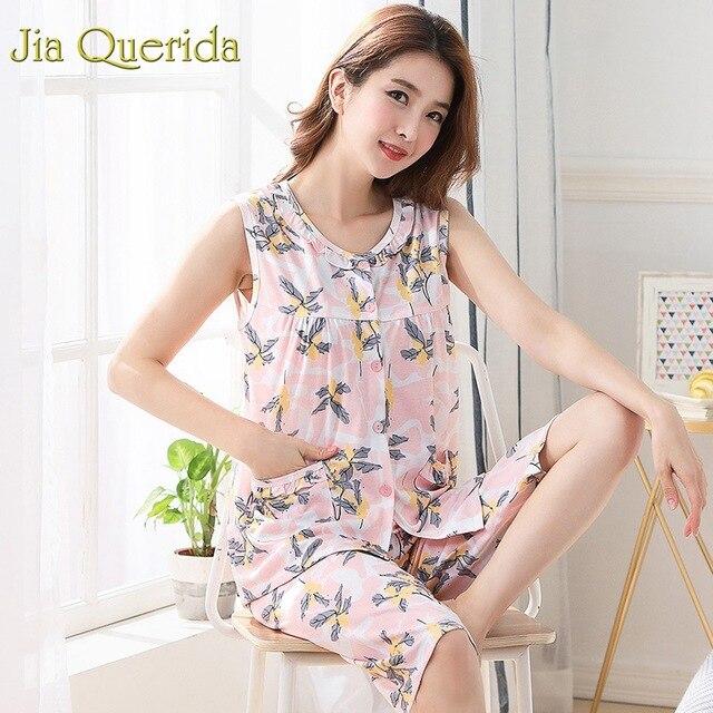 Homewear pyjamas pour femmes été sans manches mollet longueur pantalon 100% coton grande taille Floral Pyjama femme coton rose Pijama ensemble