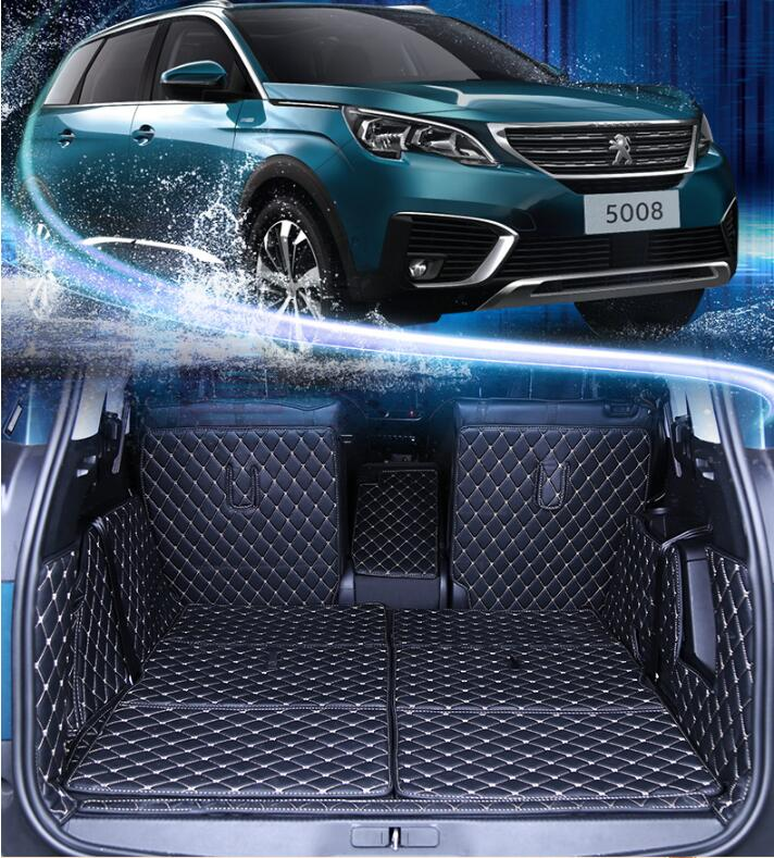 JIOYNG 3D Full Rear Trunk Tray Liner Cargo Mat Floor Protector Foot Pad Mats for 17 18 Peugeot 5008 2017 2018 7Seats BY EMS