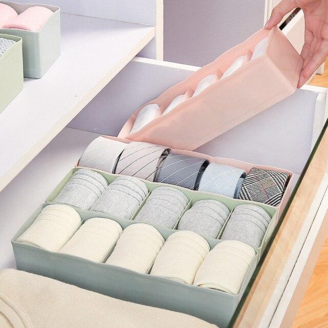 5 Grids Wardrobe Storage Box Basket Organizer Women Men Socks Bra Underwear  Storage Box Plastic Container