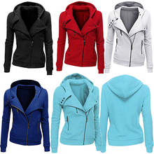 Women s Thick Hooded Jacket Long Sleeve Hoodie Sweatshirt Zip Outerwear Femmes camisa chemise camicia Mujer