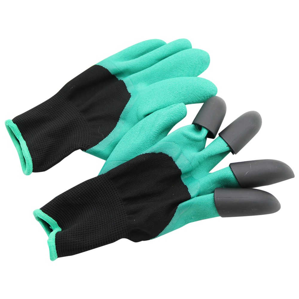 Planting Digging Gloves With 4-Claws ABS Plastic Garden Rubber Gloves Agriculture Greenhouse Seedling Grow Supplies