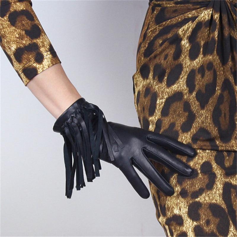 Touchscreen Gloves Genuine Leather Pure Imported Goatskin Black Female Fringe  Western Cowboy Punk Rock Woman Gloves TB98