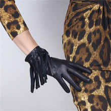 Touchscreen Gloves Genuine Leather Pure Imported Goatskin Black Female Fringe  Western Cowboy Punk Rock Woman TB98