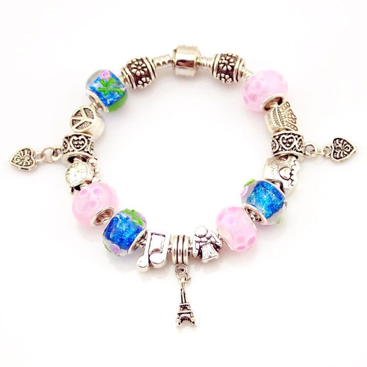 MPB nueva moda torre de plata Pulsera del encanto para las mujeres de cristal de Murano perlas pulseras y brazaletes de la joyería de Navidad