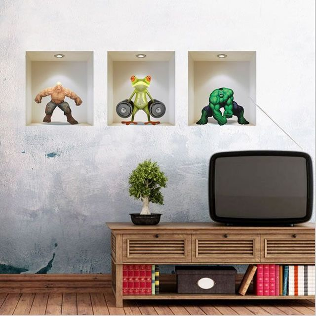 3D Simulation Creative Animation Cartoon Characters Wall Stickers Living Room TV Sofa Background Mural Decal