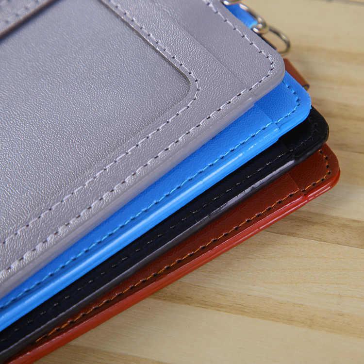 النساء الرجال بولي Leather الجلود ID الائتمان حامل بطاقة البنك الطلاب حافلة بطاقة حالة الحبل الذكور زيارة الباب الهوية شارة بطاقات الغلاف