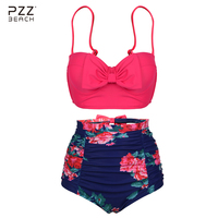 Women Push Up Bikini Cute Bowknot Bikinis Set High Waist Swimsuit Retro Flower Printing Bottom Two