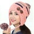 Kesebi 2017 New Hot Fashion Female Korean Cute Winter Skullies Beanies Women Knitted Thick Double Buttons Styling Ear Caps Hats
