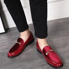 M-anxiu/; модные модельные туфли с острым носком; мужские лоферы из лакированной кожи; Туфли-оксфорды для мужчин; официальные свадебные туфли