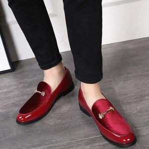 Image 1 - M anxiu chaussures Oxford en cuir verni pour hommes, chaussures habillées à bout pointu, mocassins pour mariages formels, collection 2020