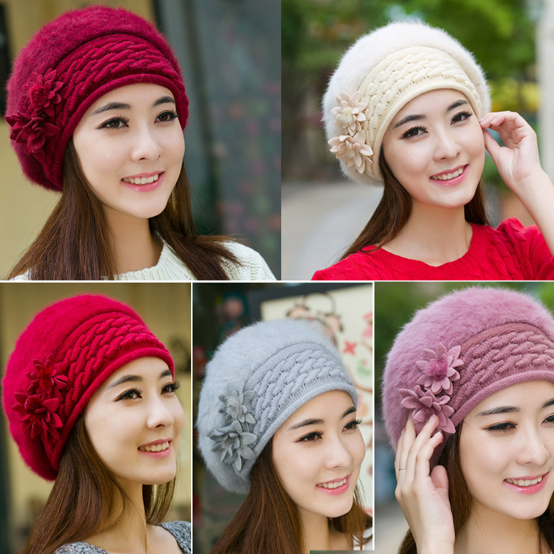 2016 New Winter Warm Cute Princess Hat Knitted Beret Hat With Flower Faux Fur Cap For Women New Famous For Selected Materials, Novel Designs, Delightful Colors And Exquisite Workmanship