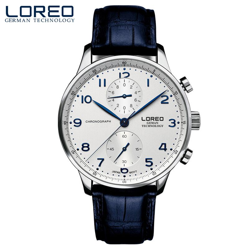 LOREO best genuine simple college wind blue needle blue digital water resistant new fashion simple men
