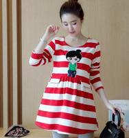 Rayé de Bande Dessinée Image de la Tête À Manches Longues De Maternité Robe 2017 Printemps Automne Coréen Vêtements De Maternité pour Les Femmes Enceintes QL5856