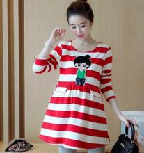 Striped Cartoon Head Picture Long Sleeve Maternity Dress 2019 Spring Autumn Korean Clothes for Pregnant Women QL5856