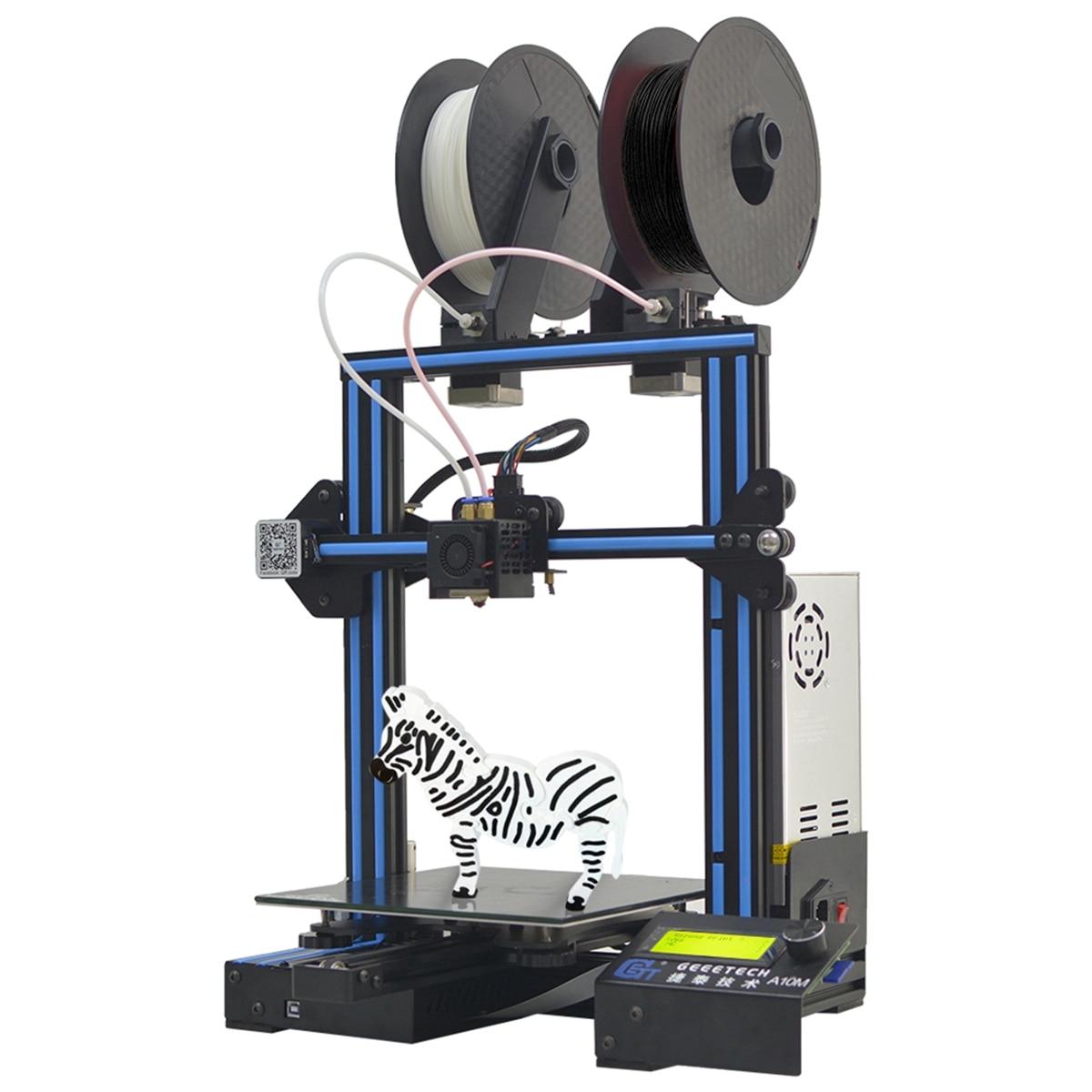 NOUVEAU A10M Mélanger-couleur I3 3D Imprimante Impression Taille Avec Double Extrudeuse/Filament Détecteur/Puissance Reprendre/ 3:1 Train D'engrenages Contrôle Conseil