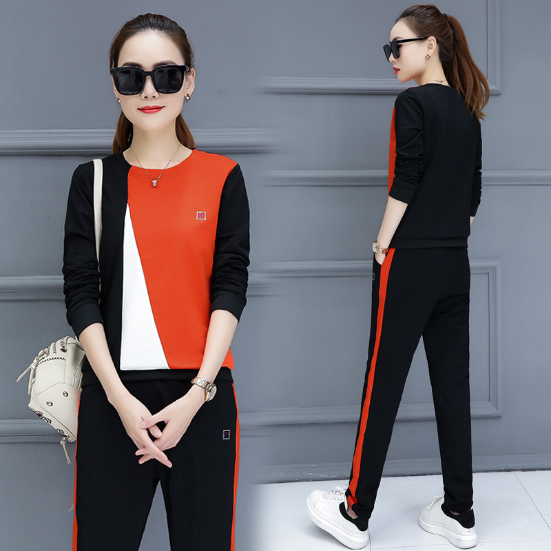 Autumn and winter new Korean sportswear suit women 39 s casual long sleeved stitching sweater two piece fashion trend in Women 39 s Sets from Women 39 s Clothing
