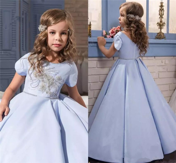Pretty Lace Little Bride Flower Girl Dresses Short Sleeves With Sweep Train 2018 Kids Glitz Pageant Prom Party Gown